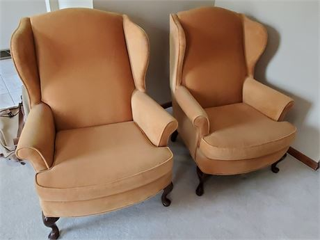 Pair of Stratford Upholstered Wing Chairs
