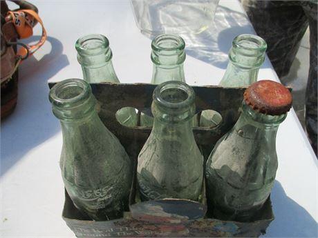 Vintage 6 Pack Small Coca Cola Internation Collector Bottles