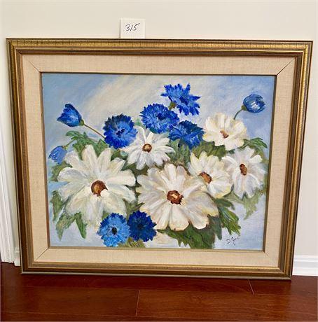 Original Doris Jira Framed Oil on Canvas Flowers