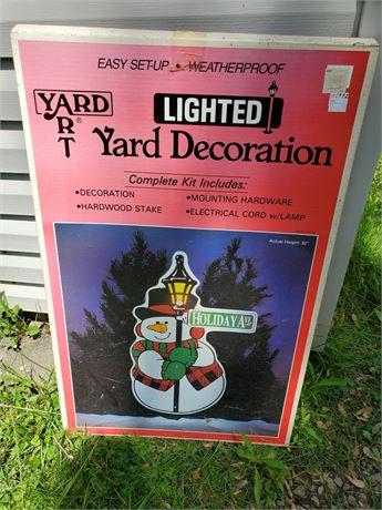 Yard Art Holiday Lighted Snowman USA