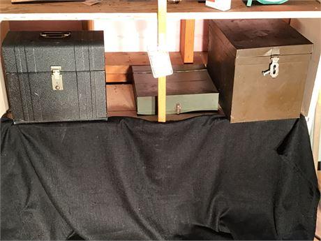 Three Metal File Storage Boxes