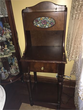 Small Secretary Style Piece with Inlaid Leaded Glass