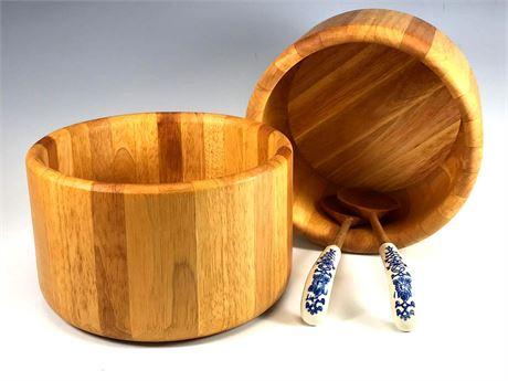 Wood Salad Bowls and Servers (2) Bowls
