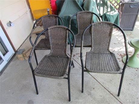 Rattan & Metal Chairs - Set of four