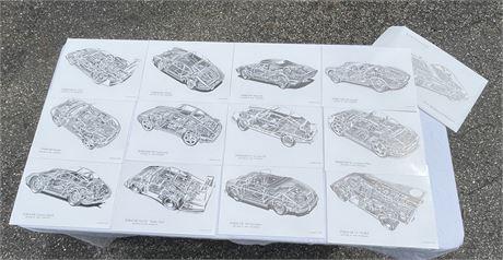 Shin Yoshikawa Collection of Porsche Cutaway Art Prints #1 - See Photos