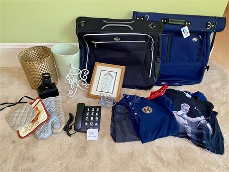 Clean Out Lot w/Garment Bags, Men's Clothes, Camera Lens & More...