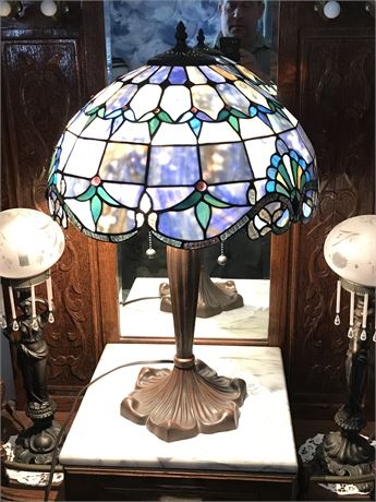 Tiffany Style Leaded Glass Lamp with damage as shown