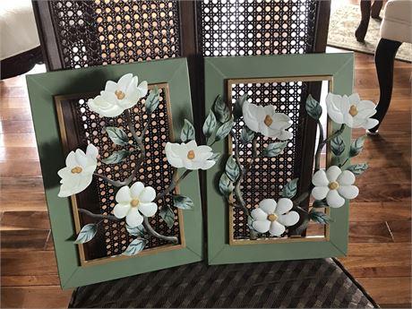 Pair of Floral Metal wall Hangings