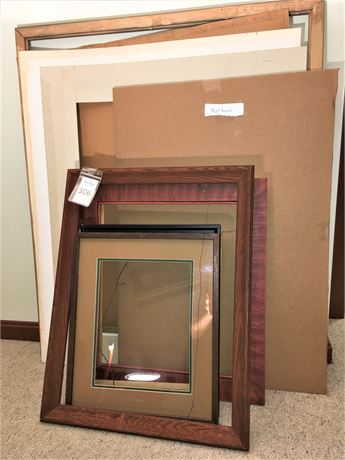 Large Wood Frames and Mat Board Pieces