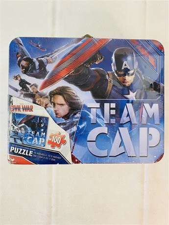 Marvel Captain America Civil War Puzzle With Metal Lunch Box