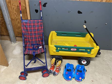 Little Tikes Wagon, Baby Trend Umbrella Stroller Boots and Slippers