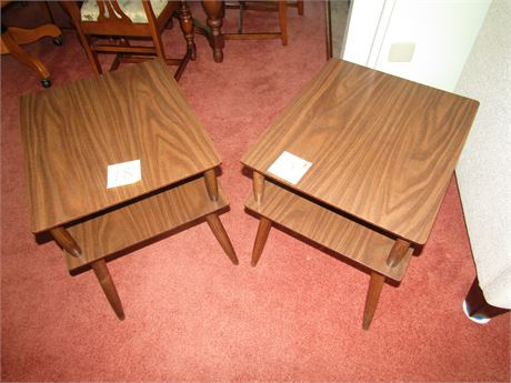Pair of MCM Wood and Laminate Side Tables