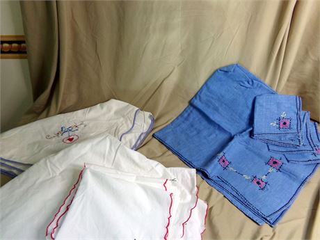 2 Square Table Cloths with Napkins and One Card table cloth