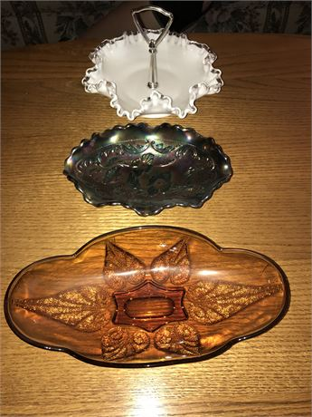 Fenton (2 pieces) and Amber Glass