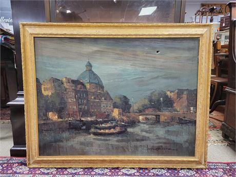Oil on Canvas Venetian Canal Artist Signed