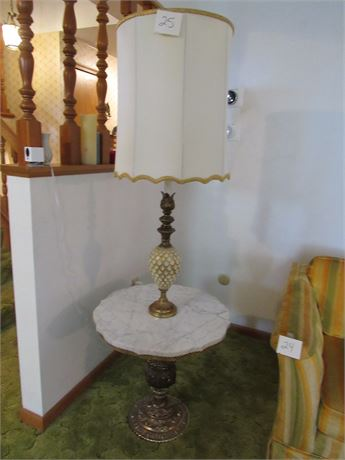 Pineapple Floor Marble Table Lamp, Vintage