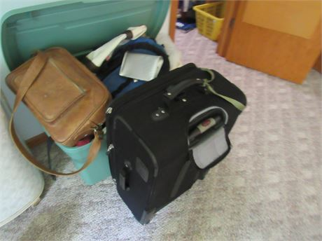 Suitcase & Tub of Various Bags