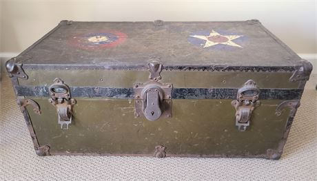 Antique Military Footlocker by Houston Trunk Factory