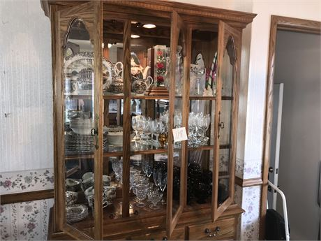 Oak Lighted Breakfront by Cochran (Hutch/China Cabinet) Contents NOT included