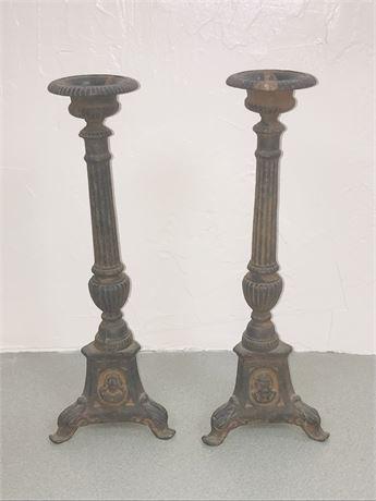 Pair of Antique Cast Iron Candlesticks