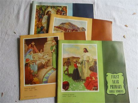 4 Vintage 1950's Church Bible School 1st & 2nd Grade Lessons