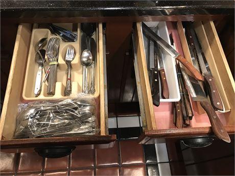 Kitchen 2 Drawer lot of Flatware & Knives