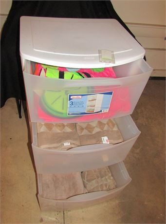 Sterilite 3-Drawer Plastic Cart Full of Towels
