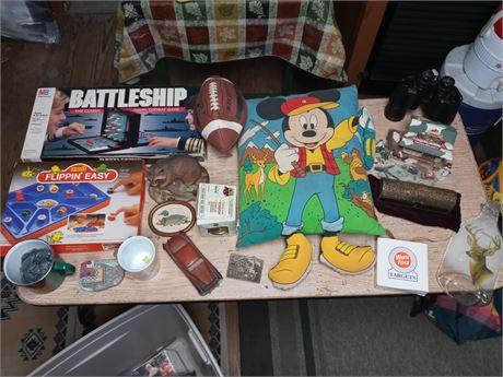 Games, Mickey pillow, binoculars, etc