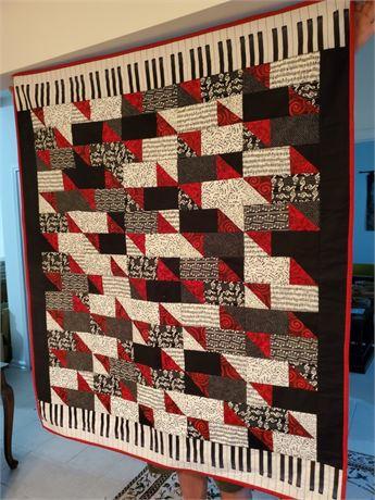 Hand Made Piano Keys Quilt
