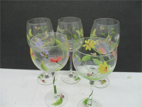 Vintage 5 Pieces Hand Painted Summer Stemmed Wine Glasses