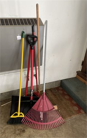 Garage Clean Out Lot w/ Rake, Shovels, and Brooms