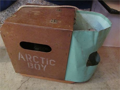 "Antique 1940-50's ""Arctic Box"" Ice Fishing Storage & Seat"