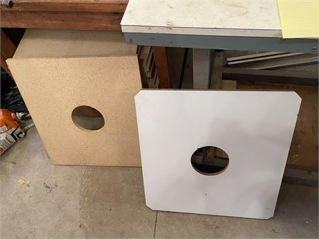 """75 pcs of 22 3/8"""" x 24"""" x 1/2"""" thick Plywood with Formica Top & 6"""" Center Circle"""
