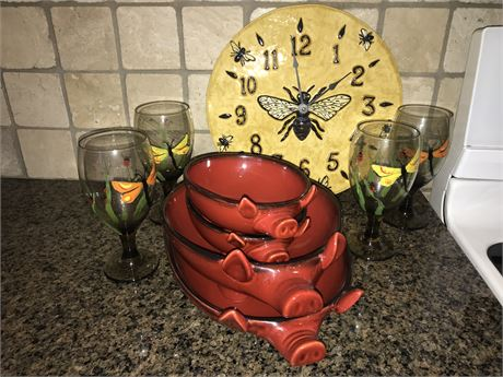 Pig Servers, Hand Painted Butterfly Glasses and Bee Clock