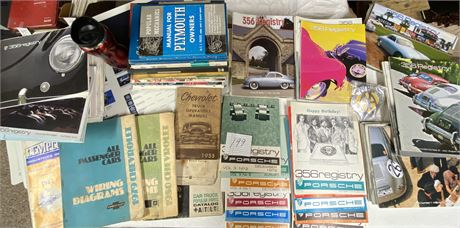 AA Grille Badge, Vtg. Chevy Wiring Diagrams, Porsche Books, 356 Registry ,