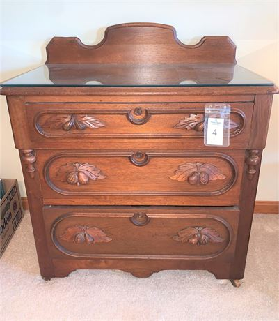 Antique Three Drawer Chest With Leaf Pulls