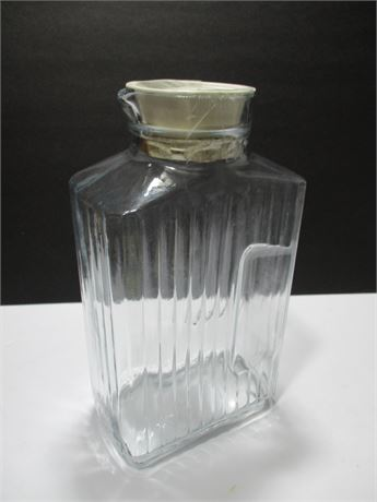 "Vintage Clear 10"" Glass Refrigerator Juice Jar w . Lid USA"