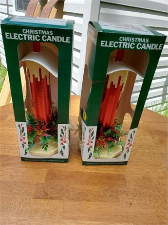 2 Vintage Electric Christmas Candles