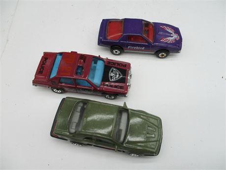 3 Vintage 1980's Match Box T- Bird Fire Bird & LTD Die Cast Car Collection