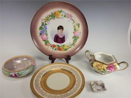 Lovely H&C Selb Portrait Charger Limoges U.C. Bowl Epiag Plates and More