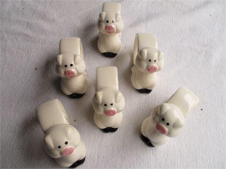 6 Pieces Ron Gordon Ceramic Design Pig Napkin Rings Lot