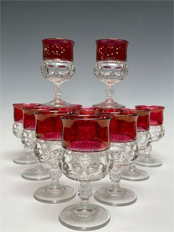 (12) KINGS CROWN Cranberry to Clear Glass Stemware Goblets