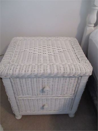 """Premium Vintage May Co 21"""" White Wicker 2 Drawer Night Stand"""