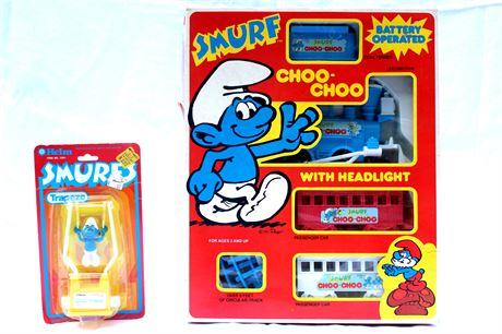 Smurfs Peyo Train and Helm Vintage Toys