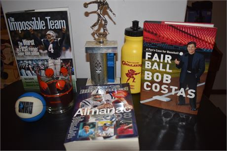 Sports Books, Cleveland Brown glass, Walsh U Cavs water bottle etc