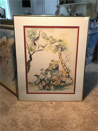 Don Nedobeck Signed Lithograph with Original Drawing by Artist on Reverse