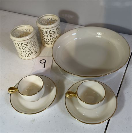 """Lenox """"Cosmopolitan Collection"""" Bowl, Cups & Saucers, and Tea Light Holders"""