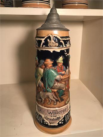 Antique Two Liter German Die Wilderer Beer Stein