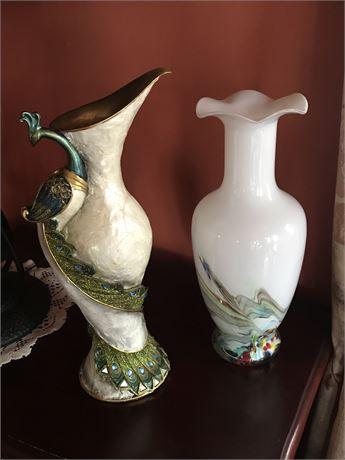Art Glass Vase and Peacock Vase
