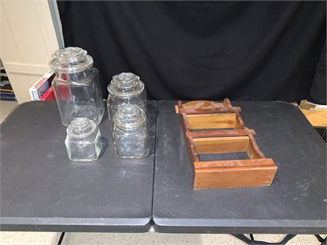 Vintage Glass Canister Set w/Lids and Wooden Spice Rack